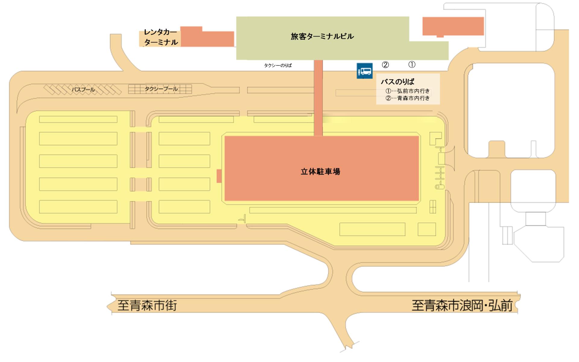 青森空港バスのり場等 平面図